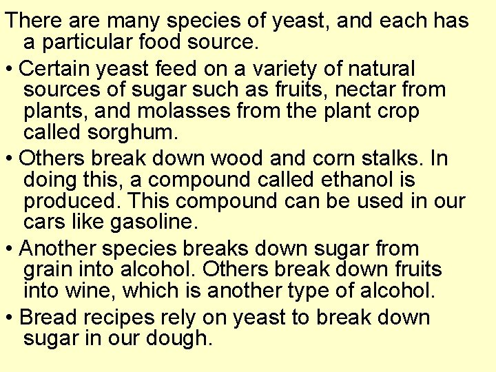 There are many species of yeast, and each has a particular food source. •