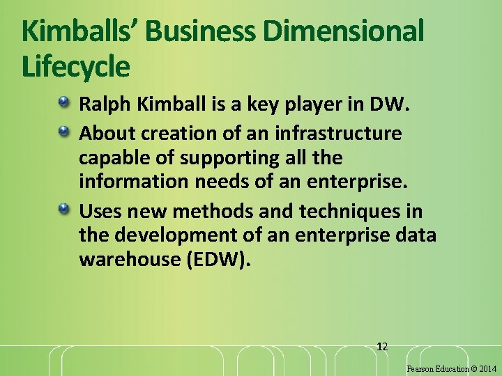 Kimballs' Business Dimensional Lifecycle Ralph Kimball is a key player in DW. About creation