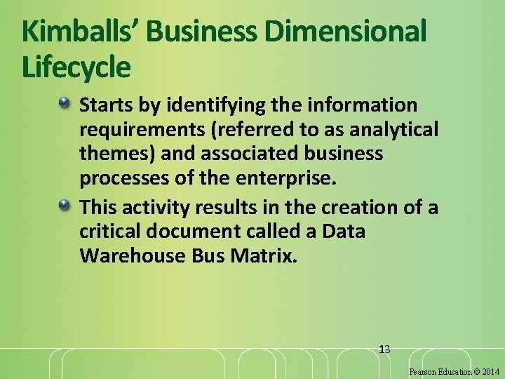 Kimballs' Business Dimensional Lifecycle Starts by identifying the information requirements (referred to as analytical
