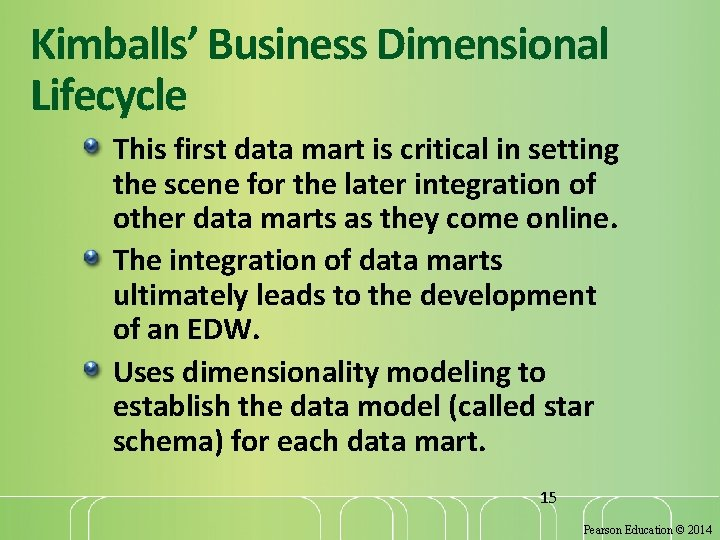 Kimballs' Business Dimensional Lifecycle This first data mart is critical in setting the scene