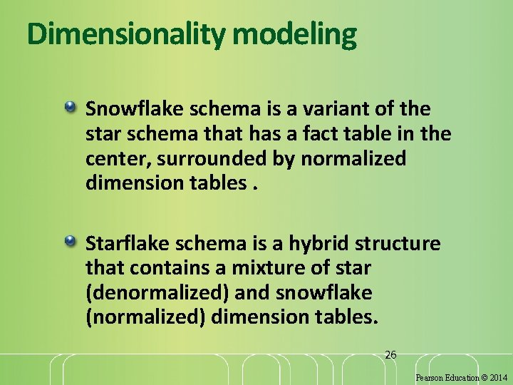 Dimensionality modeling Snowflake schema is a variant of the star schema that has a