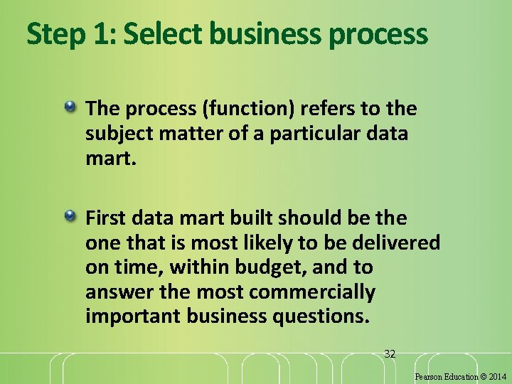 Step 1: Select business process The process (function) refers to the subject matter of