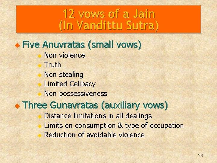 12 vows of a Jain (In Vandittu Sutra) u Five Anuvratas (small vows) Non