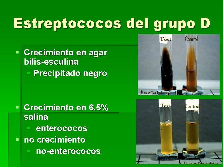 Estreptococos del grupo D § Crecimiento en agar bilis-esculina § Precipitado negro § Crecimiento