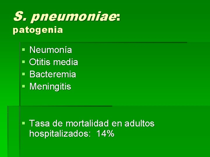 S. pneumoniae: patogenia § § Neumonía Otitis media Bacteremia Meningitis § Tasa de mortalidad