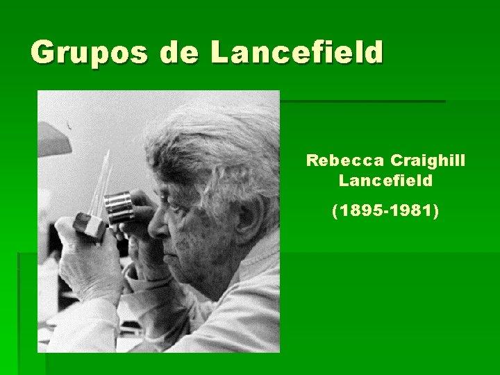 Grupos de Lancefield Rebecca Craighill Lancefield (1895 -1981)