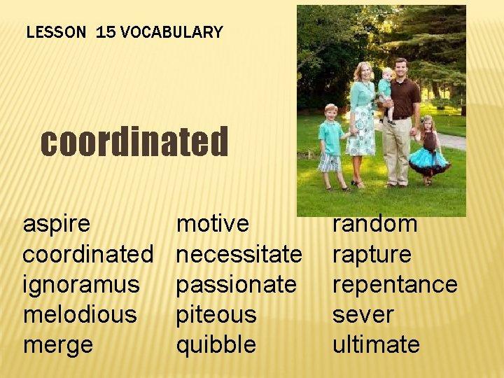 LESSON 15 VOCABULARY coordinated aspire coordinated ignoramus melodious merge motive necessitate passionate piteous quibble