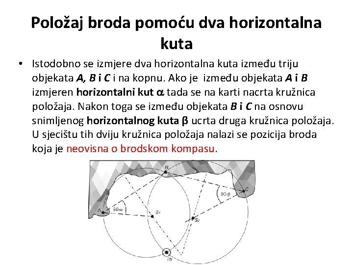 Položaj broda pomoću dva horizontalna kuta • Istodobno se izmjere dva horizontalna kuta između