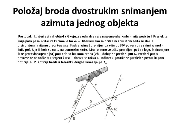 Položaj broda dvostrukim snimanjem azimuta jednog objekta Postupak : Izmjeri azimut objekta A kojeg