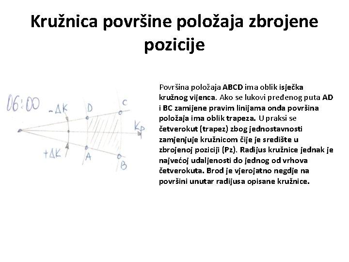Kružnica površine položaja zbrojene pozicije Površina položaja ABCD ima oblik isječka kružnog vijenca. Ako