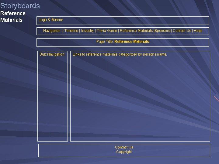 Storyboards Reference Materials Logo & Banner Navigation: | Timeline | Industry | Trivia Game