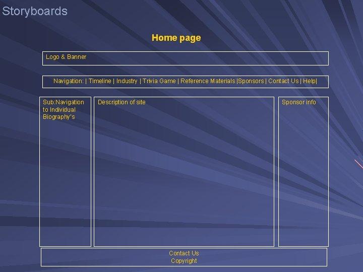 Storyboards Home page Logo & Banner Navigation: | Timeline | Industry | Trivia Game