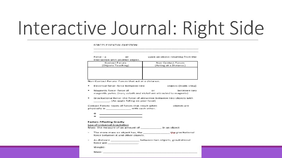 Interactive Journal: Right Side