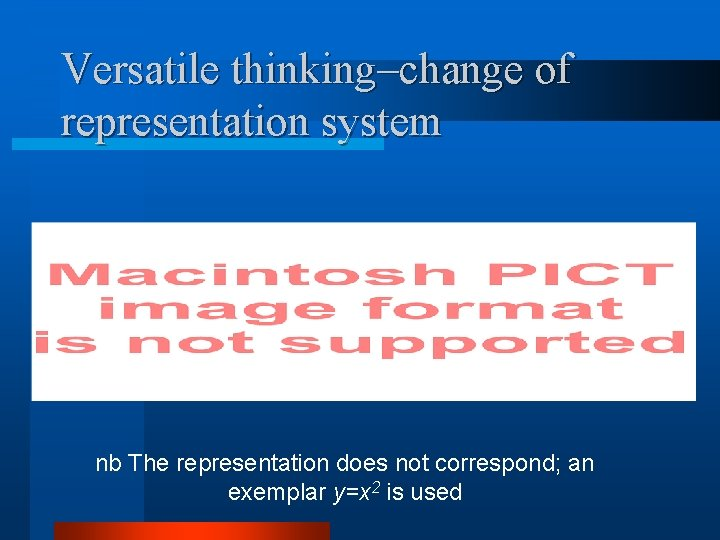Versatile thinking–change of representation system nb The representation does not correspond; an exemplar y=x