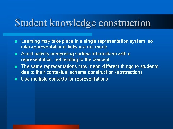 Student knowledge construction Learning may take place in a single representation system, so inter-representational