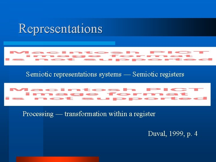 Representations Semiotic representations systems — Semiotic registers Processing — transformation within a register Duval,