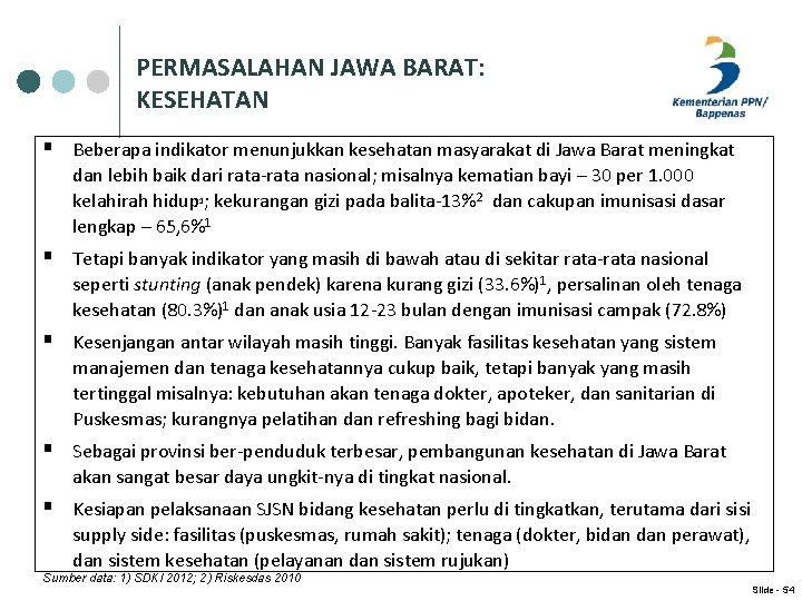 PERMASALAHAN JAWA BARAT: KESEHATAN § Beberapa indikator menunjukkan kesehatan masyarakat di Jawa Barat meningkat