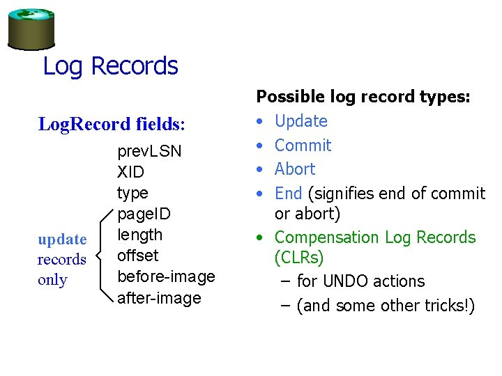Log Records Log. Record fields: update records only prev. LSN XID type page. ID