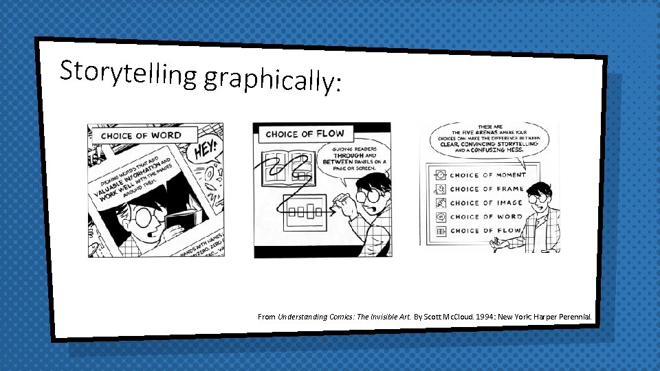 Storytelling graphically: From Understanding Comics: The Invisible Art. By Scott Mc. Cloud. 1994: New