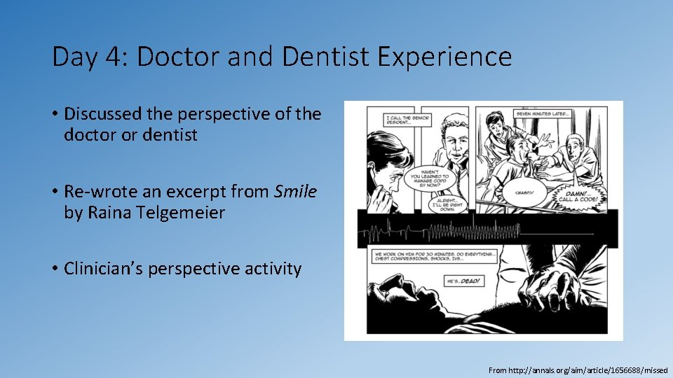 Day 4: Doctor and Dentist Experience • Discussed the perspective of the doctor or