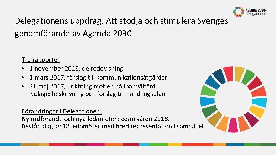 Delegationens uppdrag: Att stödja och stimulera Sveriges genomförande av Agenda 2030 Tre rapporter •