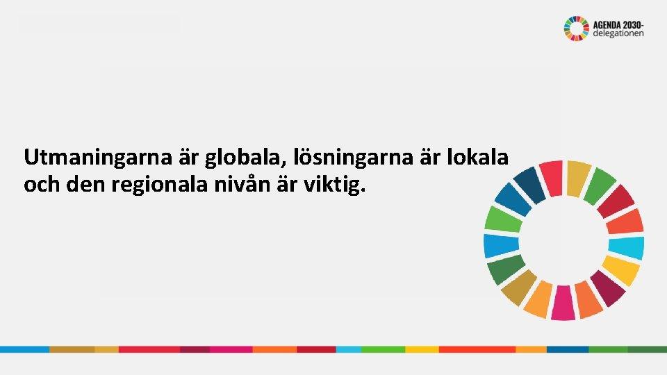 Utmaningarna är globala, lösningarna är lokala och den regionala nivån är viktig.