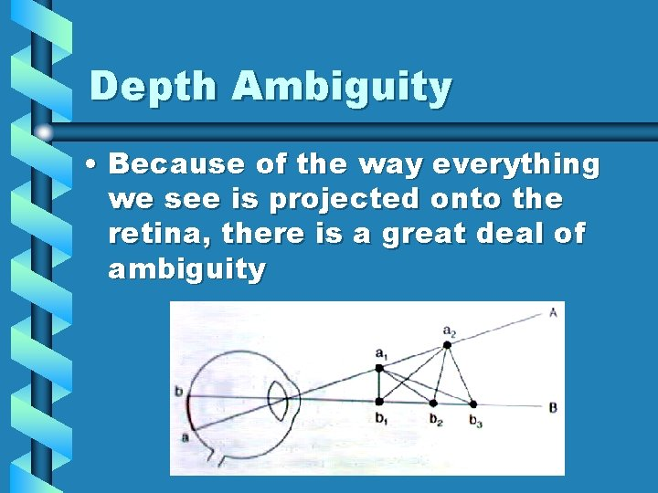 Depth Ambiguity • Because of the way everything we see is projected onto the