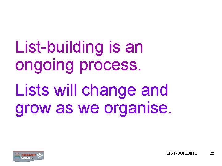 List-building is an ongoing process. Lists will change and grow as we organise. LIST-BUILDING