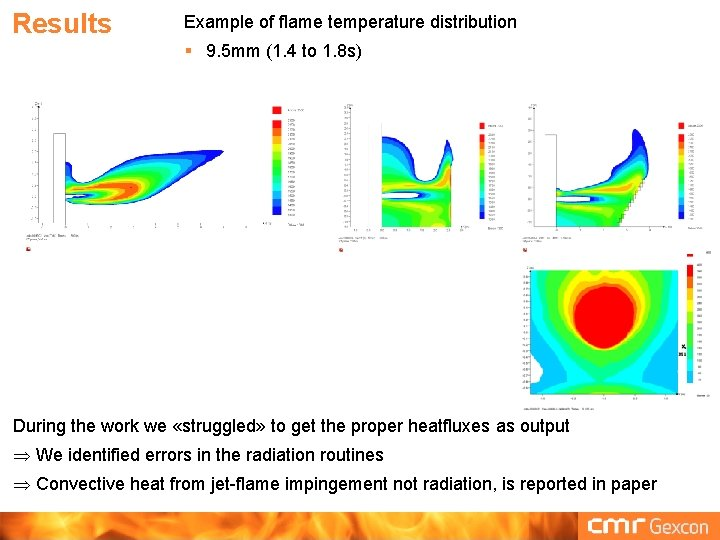 Results Example of flame temperature distribution § 9. 5 mm (1. 4 to 1.