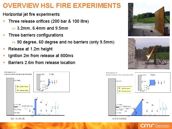 OVERVIEW HSL FIRE EXPERIMENTS Horizontal jet fire experiments § Three release orifices (200 bar