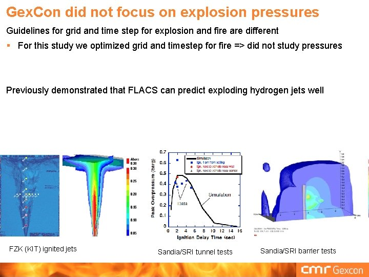 Gex. Con did not focus on explosion pressures Guidelines for grid and time step