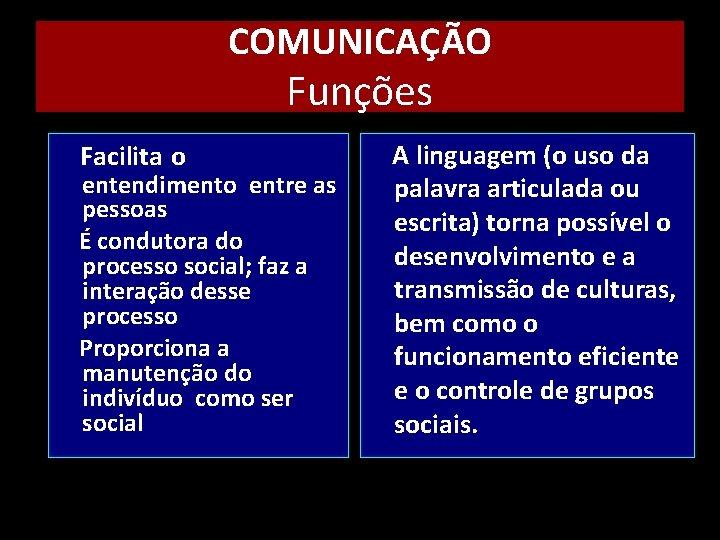 COMUNICAÇÃO Funções Facilita o entendimento entre as pessoas É condutora do processo social; faz