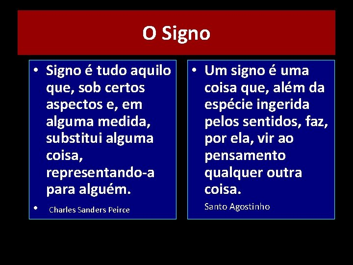 O Signo • Signo é tudo aquilo que, sob certos aspectos e, em alguma
