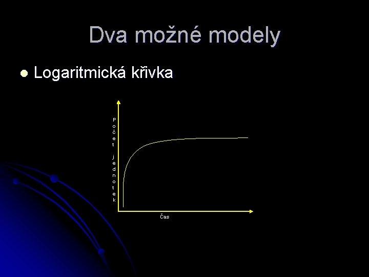 Dva možné modely l Logaritmická křivka P o č e t j e d