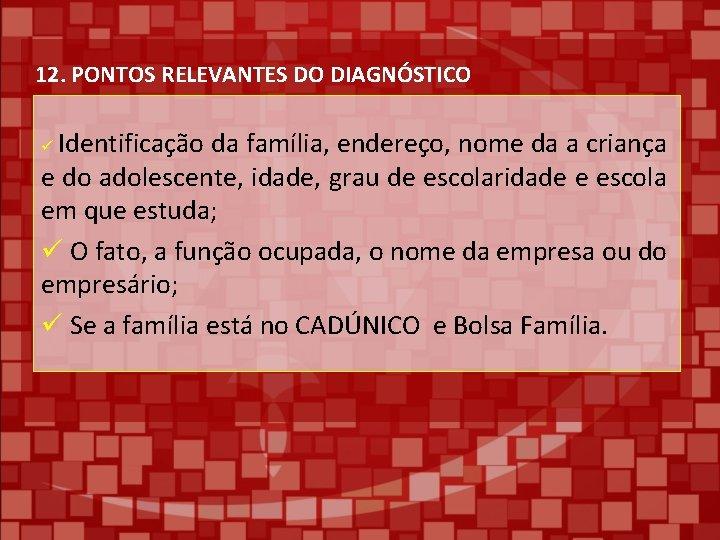 12. PONTOS RELEVANTES DO DIAGNÓSTICO Identificação da família, endereço, nome da a criança e