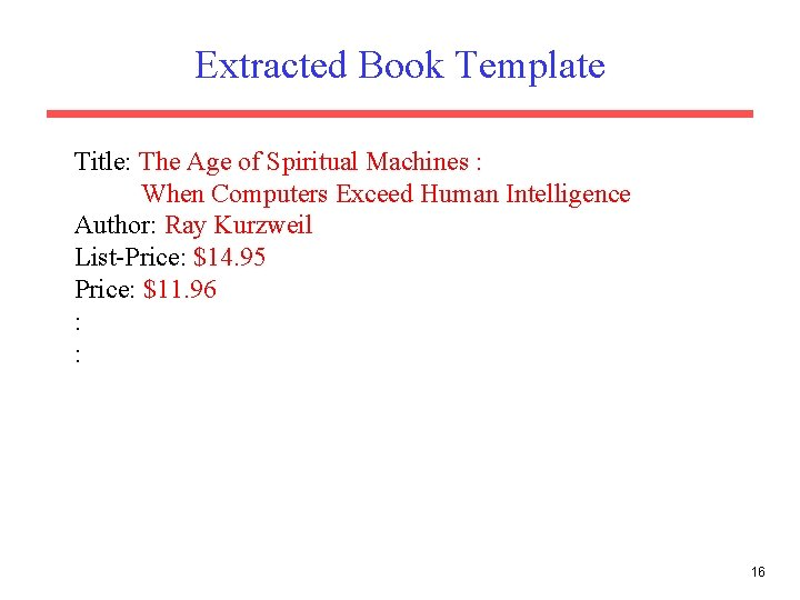Extracted Book Template Title: The Age of Spiritual Machines : When Computers Exceed Human