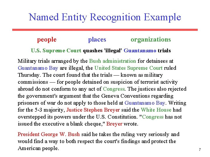 Named Entity Recognition Example people places organizations U. S. Supreme Court quashes 'illegal' Guantanamo