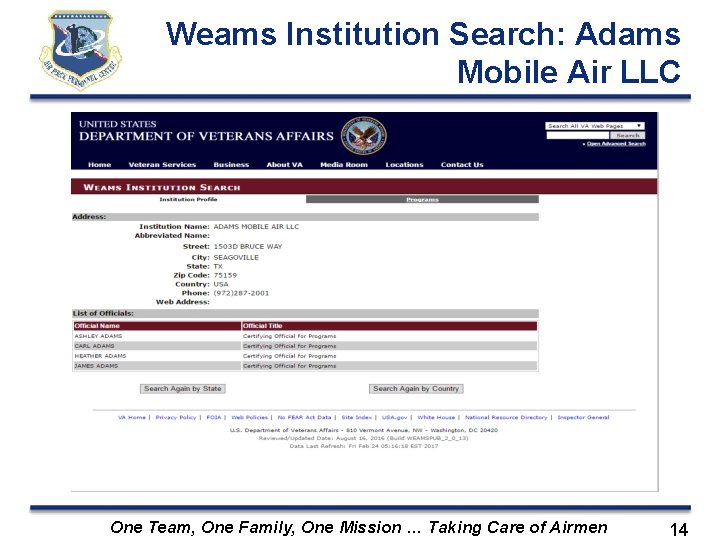 Weams Institution Search: Adams Mobile Air LLC One Team, One Family, One Mission …