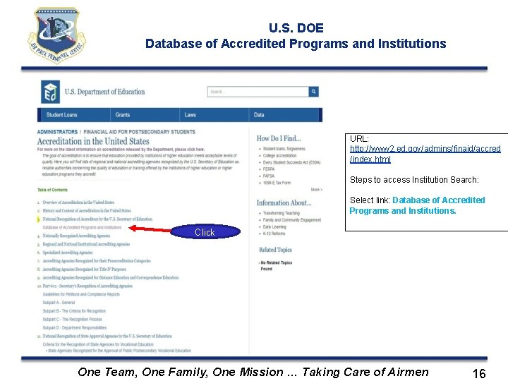 U. S. DOE Database of Accredited Programs and Institutions URL: http: //www 2. ed.