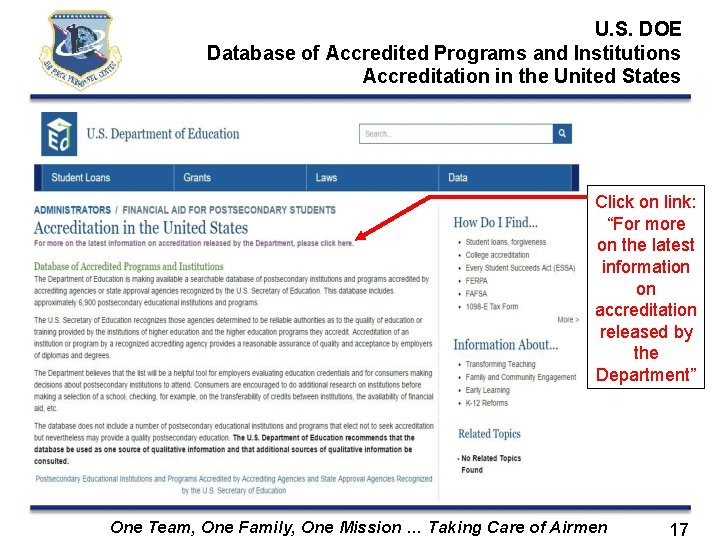U. S. DOE Database of Accredited Programs and Institutions Accreditation in the United States