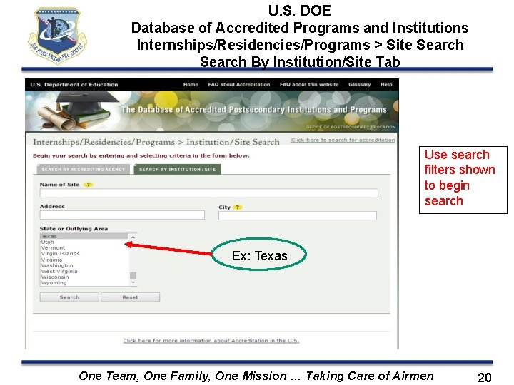 U. S. DOE Database of Accredited Programs and Institutions Internships/Residencies/Programs > Site Search By
