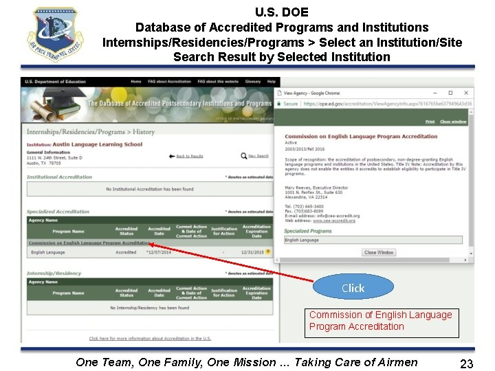 U. S. DOE Database of Accredited Programs and Institutions Internships/Residencies/Programs > Select an Institution/Site