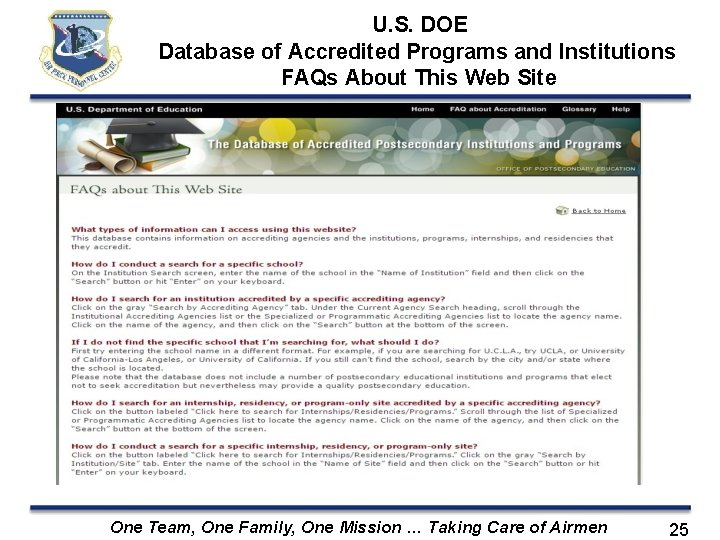 U. S. DOE Database of Accredited Programs and Institutions FAQs About This Web Site