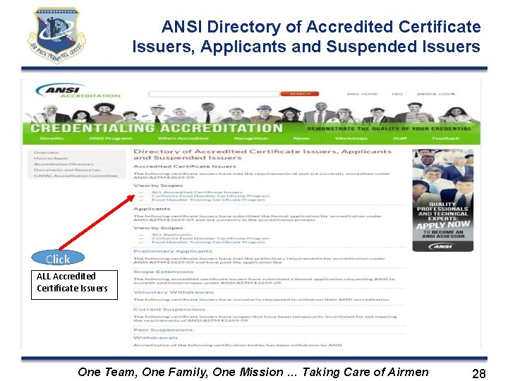 ANSI Directory of Accredited Certificate Issuers, Applicants and Suspended Issuers Click ALL Accredited Certificate