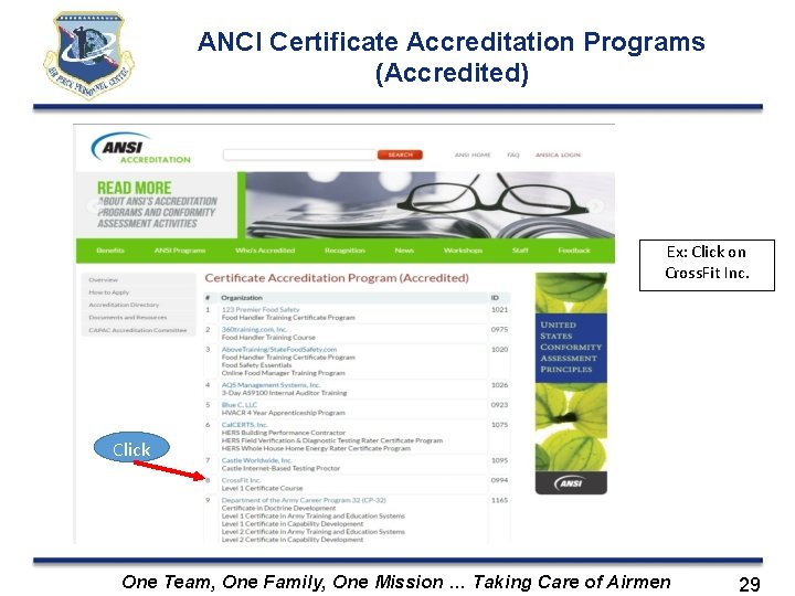 ANCI Certificate Accreditation Programs (Accredited) Ex: Click on Cross. Fit Inc. Click One Team,