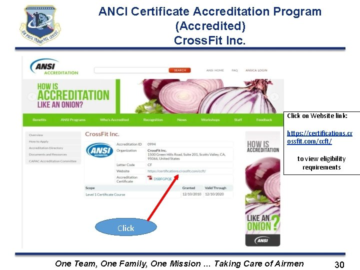 ANCI Certificate Accreditation Program (Accredited) Cross. Fit Inc. Click on Website link: https: //certifications.
