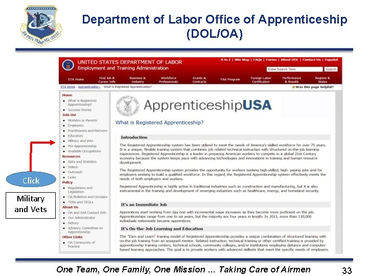 Department of Labor Office of Apprenticeship (DOL/OA) Click Military and Vets One Team, One
