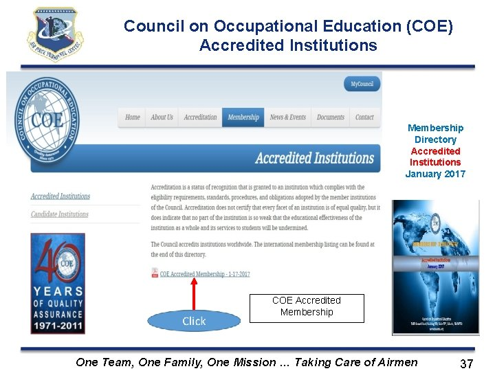 Council on Occupational Education (COE) Accredited Institutions Membership Directory Accredited Institutions January 2017 COE