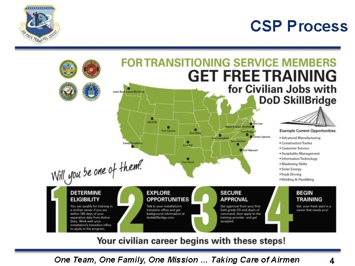 CSP Process FOR TRANSITIONING SERVICE MEMBERS GET FREE TRAINING for Civilian Jobs with Do.