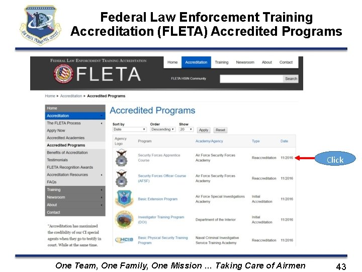 Federal Law Enforcement Training Accreditation (FLETA) Accredited Programs Click One Team, One Family, One